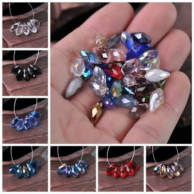 20pcs 12x6mm Faceted Teardrop Pendant Crystal Glass Loose Beads Jewelry Making