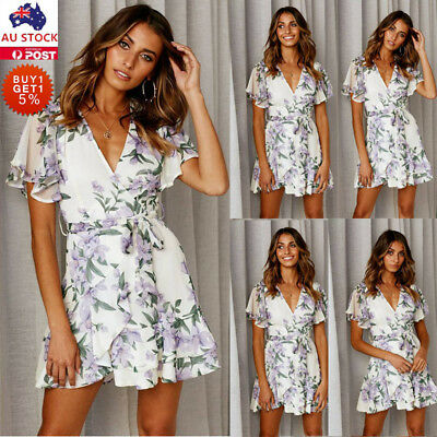 Women Floral V Neck Mini Dress Ladies Holiday Casual Summer Party Skater Dress