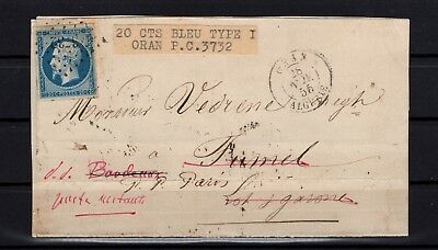 Bp94729 / Letter From Oran To Fumel Readdressed To Paris