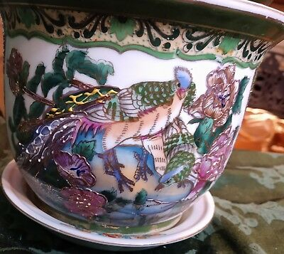 Vintage Chinese Koi Fish Bowl Green Gold Peacock Oriental Asian Planter& Plate