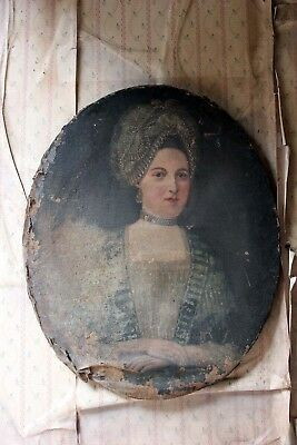 Antique Early 18thC French School Oval Oil on Canvas Portrait of a Lady c.1700