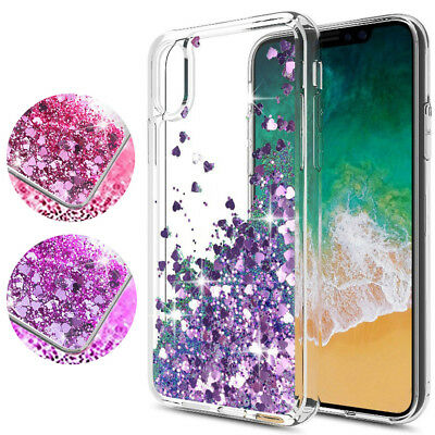 For iPhone Xs Max Bling Sparkle Clear Transparent Liquid Flowing Soft Case Cover