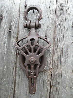 Antique CAST Iron AND WOOD NEY CDP TROLLEY PULLEY BARN ORNATE RUSTIC FARM