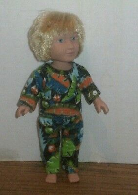 Doll Clothes-fit Mini American Girl Boy My Life-Flannel-Pajamas-Jungle Ants