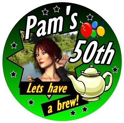50th BIRTHDAY BADGE (LETS HAVE A BREW) - BIG PERSONALISED BADGE, PHOTO, ANY AGE