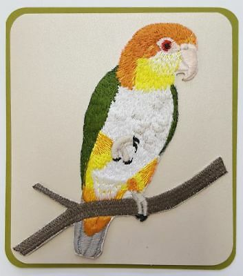 """White bellied Caique, Parrot Embroidered Patch 4.1"""" x 4.6"""""""