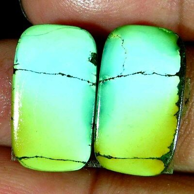 super quality~13.00Cts 100% Natural Tibet Turquoise Cushion Pair Cab Gemstone