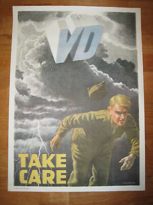 Original US war poster: Schiffers Franz O: VD Take Care, 1946, Original-Kriegspl