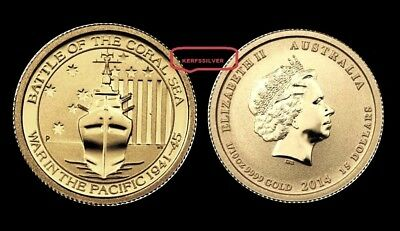 2015 Fine 1/10 Oz .9999  Gold Coin  Battle Of The Coral Sea - War In The Pacific