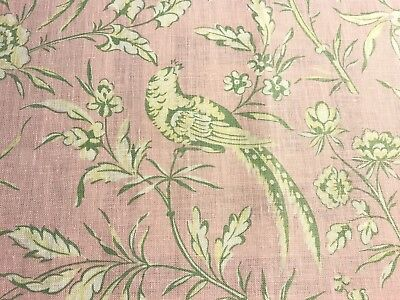 """Scalamandre """"aviary"""" Pink Linen Remnant, 15 1/2"""" X 18"""""""