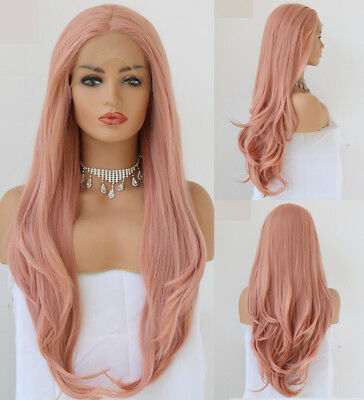 "AU 24"" Smoke Pink Synthetic Hair Full Head Lace Front Wig Straight"