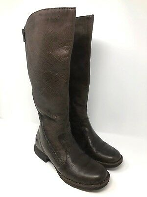 d9484c50b555 Born Laurette Womens Zip Distressed Brown Leather Tall Boots Size 8.5  210