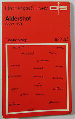 1965 old vintage OS Ordnance Survey seventh series one-inch Map 169 Aldershot
