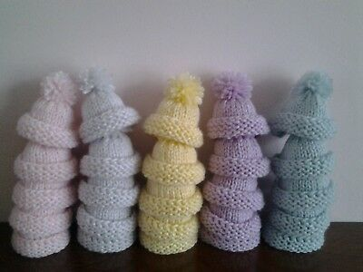 5 Pretty Pastel Hand Knitted Egg Cosies. Small Hats