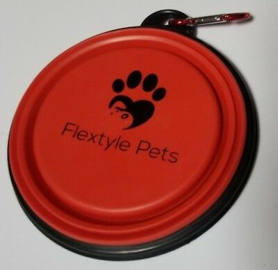 Flextyle Pets Collapsible Dog Bowl, Food Grade Silicone BPA Free Foldable - Red