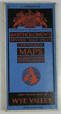 1948 old Bartholomew's Half-inch revised contoured CLOTH map 13 Wye Valley
