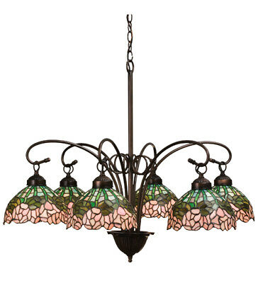 "Meyda Tiffany Stained Glass 31""W Cabbage Rose 6 LT Chandelier Ceiling Light"
