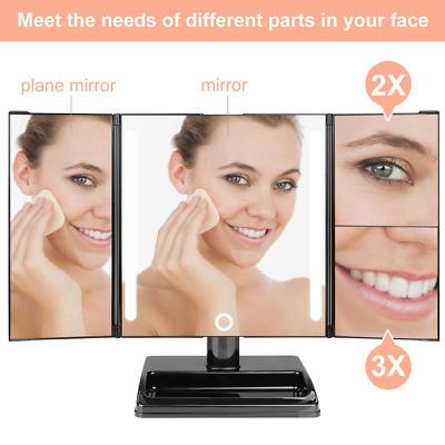 32 Led Lighted Vanity Makeup Mirror w/ 3x/2x Magnification Cosmetic Touch Screen