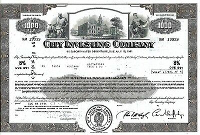 City Investing Company, 1974,  8% Subord. Debenture due 1991 (1.000 Dollar)