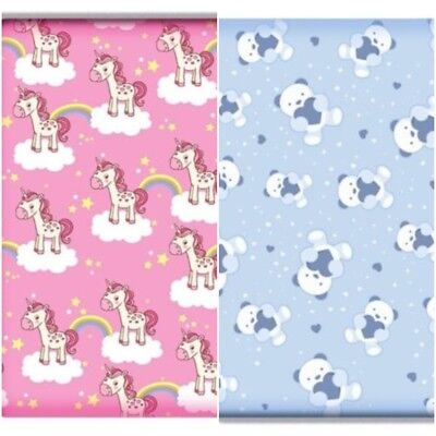 Printed UNICORN AND TEDDY BEAR Cot Fitted Sheets  100% Cotton 60 x 120cm
