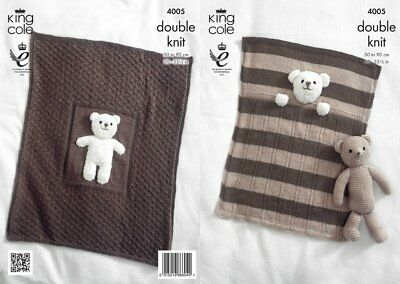 King Cole DK 4005, Knitting Pattern for Baby Blankets & Teddy Bear Toy