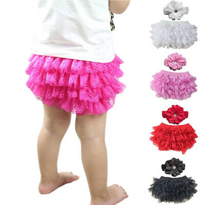 Lace Ruffled Baby Diaper Cover Bloomer With Flower Headband