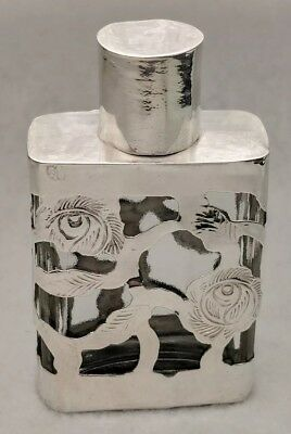Vintage Mexico Glass Sterling Silver Overlay Perfume Bottle