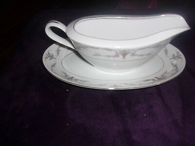 """FINE CHINA OF JAPAN """"ELMWOOD 3725""""   -Gravy Boat with Under Plate"""