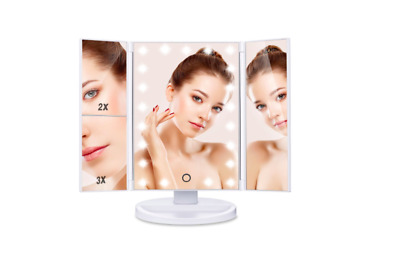 Makeup Mirror Touch Screen LED Foldable 180 Degree Rotation 1X 2X 3X Magnifying
