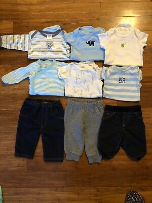 Baby Boy Clothes 3 Mo Lot Of 9 Onsies Pants Jeans #9
