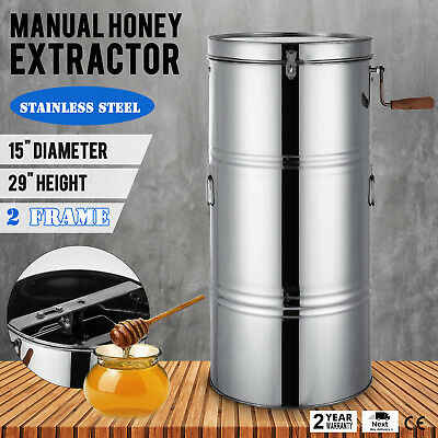 """Two 2 Frame Honey Extractor Stainless Steel Manual Draining 15"""" Diameter On Sale"""