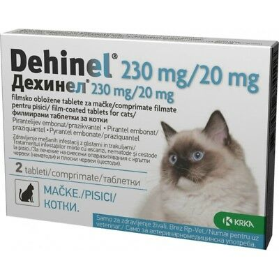 Dehinel 230mg / 20mg for cats 2 tablets against worms vet medicine de-wormer