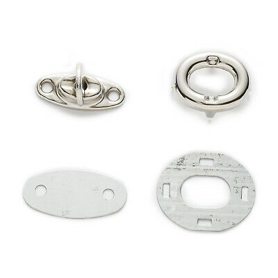 10 Sets Silver Tone Oval Clasps Twist Turn Lock Handbag Bag Accessories 26x21mm