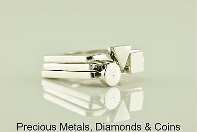 Sterling Silver Geometrical Shapes Triple Band Stackable Ring 925 15g Sz: 5.5