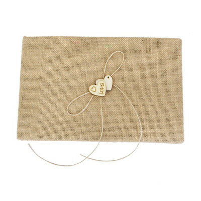 1Pc Hessian Bridal Wedding Guest Book with Wooden Hearts Embellished Guestbook