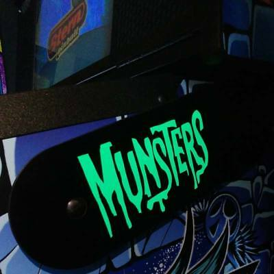 Munsters Stern Pinball Lighted Magnetic Hinge Covers-EL Panel MOD-GREEN