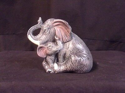Hand Painted Ceramic Elephant and Baby Grey