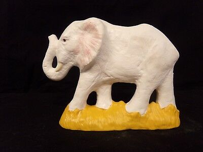 Hand Painted Ceramic Elephant Small White