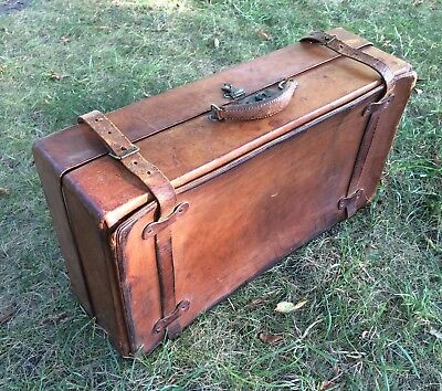 Leather Luggage Handcrafted Travel Case Vintage Antique 1920's 30's Mesace