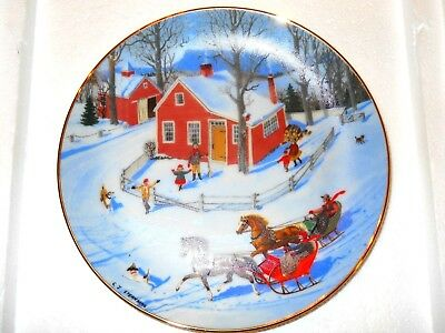 Danbury Mint The Race Through Town Christmas Collector Plate  An Old Time