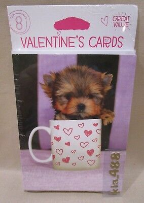 Multi pack (8) VALENTINE'S DAY GREETING CARDS- CUTE TINY DOG IN HEART MUG - NEW