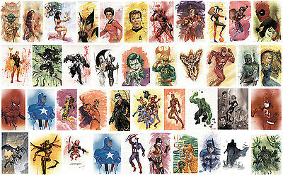 MARVEL DC STARWARS TREK 8.5 in. WATERCOLOR POSTERS/PRINTS signed by LEE OAKS!
