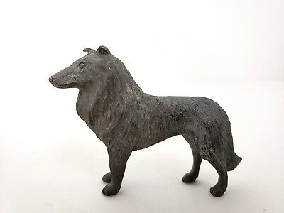 """Pewter Collie Figurine Collectible 1.5"""" T X 2"""" L Standing Dog"""