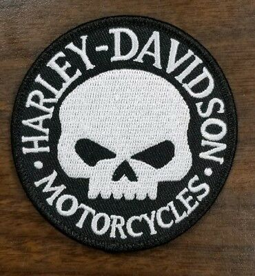 "HARLEY DAVIDSON  Willie G SKULL Embroidered  3"" Patch Black White Round"