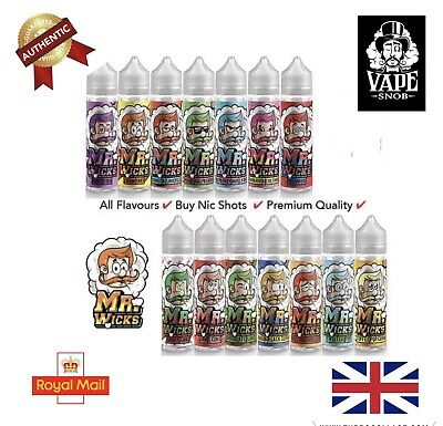 MR WICKS Premium e liquid Vape Juice Short Fill 50ml 0mg 17 FLAVOURS *UK*