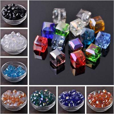 10pcs 10mm Faceted Square Cube Crystal Glass Loose Beads Jewelry Making Finding