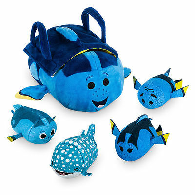 New Disney Store Finding Dory Tsum Tsum Tote Bag w/ 4 Mini Plush Gift Set NWT