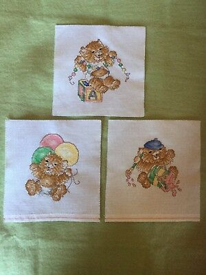 Adorable Kittens Completed Cross Stitch pieces x 3