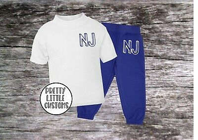 Personalised Kids initials tracksuit -joggers & t-shirt  set - style 2