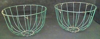 Vintage Green Wire Plant Garden Flower Planters Primitive Farmhouse Baskets